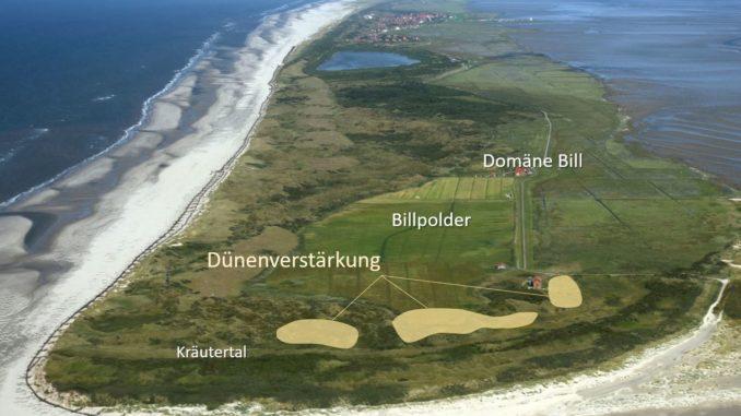 Auf Juist wird in den kommenden Wochen im Sinne des Prinzips building with nature Sand eingebaut. Um die Sturmflutsicherheit für den Billpolder nachhaltig zu gewährleisten, soll dabei die Dünenkette westlich des Polders verstärkt werden.